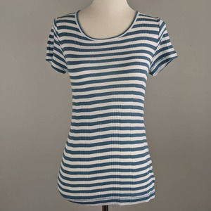 Madewell XS Blue White Striped Stretchy Blouse